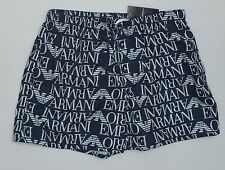 Men's GIORGIO ARMANI Blue Black Logo Swim Trunks Swimsuit I 52 USA 36 NWT NEW