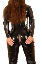 Shiny Hot Black Stretch PVC  Spandex Catsuit / UK Size 10-12 / Free P&P