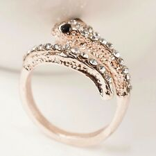 Free Shipping Size 7 Womens 9K Rose Gold Filled & AAA CZ Snake Shape Ring A513-a