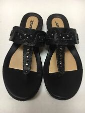 Kalso Earth Shoe MIST Black Leather Flip Flop Thong Sandals Sz 7.5
