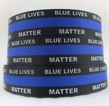 "By The Yard 7/8"" Blue Lives Matter Lanyards Grosgrain Ribbon Lisa"