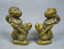 2x Statues Monkey Lover Charm Powerful Sex Attraction Brass Thai Buddha Amulet .