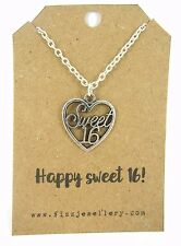 Happy 16th Sweet 16 Birthday Silver Plated Necklace on Message Gift Card New