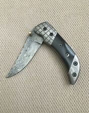 Hand Made Damascus Steel Hunting Folding Camping Knife   FREE SHIPPING