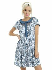 Doctor Who TARDIS Print Peter Pan Collar Dress Authentic BBC FreeShip SZ MEDIUM