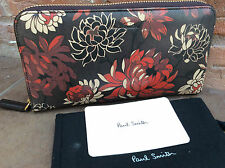 PAUL SMITH FLORAL LEATHER ZIP AROUND PURSE MADE IN ITALY
