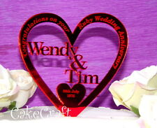 Mirrored Personalised  Wedding Ruby Silver Anniversary cake topper decoration