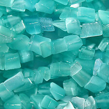"""CATS EYE BEADS FIBER OPTIC TURQUOISE BEAD CHIPS SIZE 3-8MM 32"""" STRANDS"""