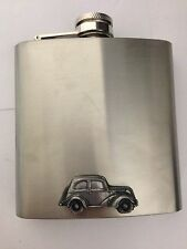 Ford Popular 103 E ref87 pewter effect car on a 6oz Stainless Steel Hip Flask
