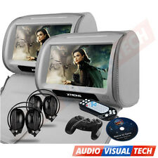 "2x9"" CAR HEADREST DVD PLAYER MONITOR DIGITAL TOUCH SCREEN GAMES USB HEADPHONES"