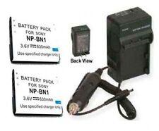 2X Batteries + Charger for Sony DSC-W530G DSC-W530L DSC-W530B DSC-WX30 DSC-WX30B