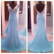 Deep V-Neck Mermaid Evening Dresses Beaded Open Back Light Blue Prom Gowns 2015