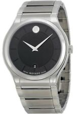 Movado Quadro 0606478 Black Dial Stainless Steel Men's Watch