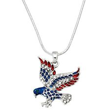 NEW CRYSTAL AMERICAN EAGLE PENDANT NECKLACE PATRIOTIC 4TH OF JULY RED WHITE BLUE