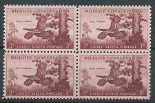 US 1956 Sc# 1077 Wild turkey block 4 MNH
