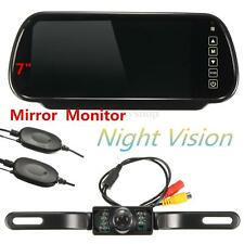 Wireless 7'' LCD Mirror Monitor + IR Car Rear View Reversing Camera Backup Kit