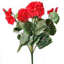 36cm Artificial Geranium Bush With Red Flowers - Decorative Plastic Plant