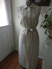 Womens British Khaki Linen maxi  tank top dress beach Medium size 8 gingham