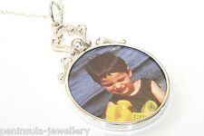 """Sterling Silver Round Double Sided Photo frame pendant and 18"""" chain Gift Boxed"""