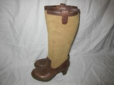 Dr Martens Josie Slouch Tall Boot Tan Suede Brown Leather Women's 11 High Heel