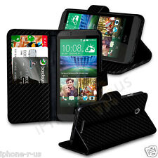 Black Carbon Fibre Stand Wallet Flip Case Cover For HTC Desire 530