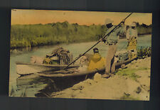 1936 Handpainted Postcard Cover Native American Seminole Indian in Canoe FLorida