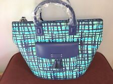 NWT Vera Bradley Tassel Tote Navy Teal Art Plaid NEW Bag Blue Large Travel Purse