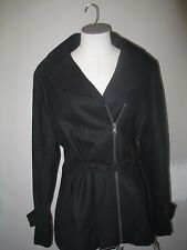 Guess Asymetrical Zip Front Belted Wool Coat XL Black NWT