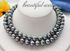 """z3944 32"""" 12mm Black round freshwater pearl cultured necklace"""