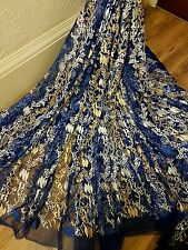 "1M royal blue /gold/white    tulle bridal  EMBRIOUDED  FABRIC 58"" WIDE"