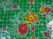 "Green with Yellow & Red Roses Floral ""oilcloth"" from Mexico by the 1/2 Yard"