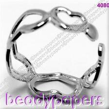 1 Small Platinum Plate Ring Adjustable 5 Hearts Childs / Toe 15 mm 4080