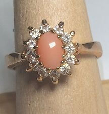 Gold Plated Peach Coral Cocktail Ring Dainty Vintage Style Cubic Zirconia Size 8