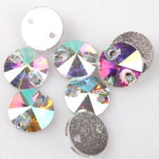 240pcs Mini AB Faceted Charms Sew-on Flatback Embellishments Buttons Findings