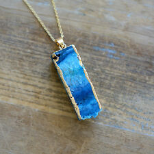Square Column Blue Druzy Necklace Agate Pendant w/ 24K Gold Edge Plating & Chain