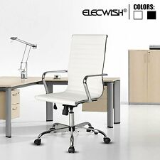 Elecwish PU Leather Executive Office Chair High Back Computer Desk Task White US