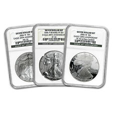 2006-W Silver American Eagle 3 Coin Set - MS-70 & PF-70 NGC - Registry Set
