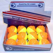 12 Plastilite Fishing Floats Bobbers Fluorescent Yellow Orange Display 1 1/2""