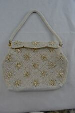 VINTAGE large white pearlised beaded 1950s evening bag/handbag floral wedding