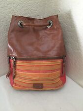THE SAK Camino Backpack Tan & Coral Leather w/ Multi Canvas Stripe Hobo Handbag