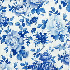 4x Single Lunch Party Paper Napkins for Decoupage Decopatch Craft Rosery Blue