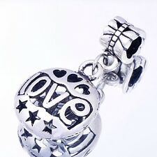 "Silver plating Hollow Star Heart ""LOVE""Charms Bead Pendant FIt Charm bracelet"