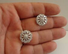 925 STERLING SILVER ROUND FLOWER STUD EARRINGS W/ 5 CT ACCENTS / 18MM BY 18MM