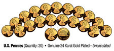 UNCIRCULATED 24K GOLD PLATED U.S. PENNIES (Lot of 20)