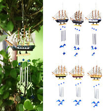New Home Wind Chimes White Boat Blue Dolphin Copper Yard Garden Outdoor Living