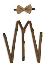 Light Brown Suspender and Bow Tie Set for Adults Men Women Teenagers (USA)