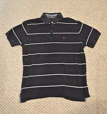 Tommy Hilfiger Polo Shirt Medium M Dark Blue White Stripes