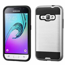 For Samsung Galaxy Amp 2/J1(2016) Silver Black Hard Silicone Hybrid Case
