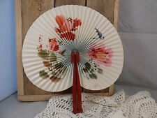 Vtg ~1950's Paper Hand Fan W Metal Handle/ Republic Of China/ Red & Pink Flowers
