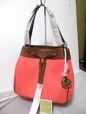 MICHAEL KORS MARINA LARGE GATHER SHOULDER TOTE~LEATHER/CORAL~NWT!